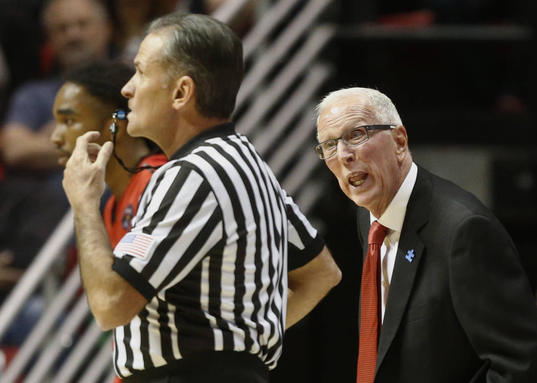 FILE - In this Nov. 13, 2015, file photo, San Diego State coach Steve Fisher speaks to the referee in the first half of a NCAA college basketball game against the Illinois State in San Diego. Two  ...