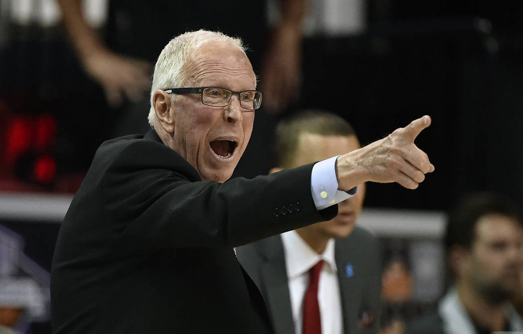 FILE - In this March 10, 2016, file photo, San Diego State coach Steve Fisher calls to his team during the second half of an NCAA college basketball game against Utah State at the Mountain West Co ...