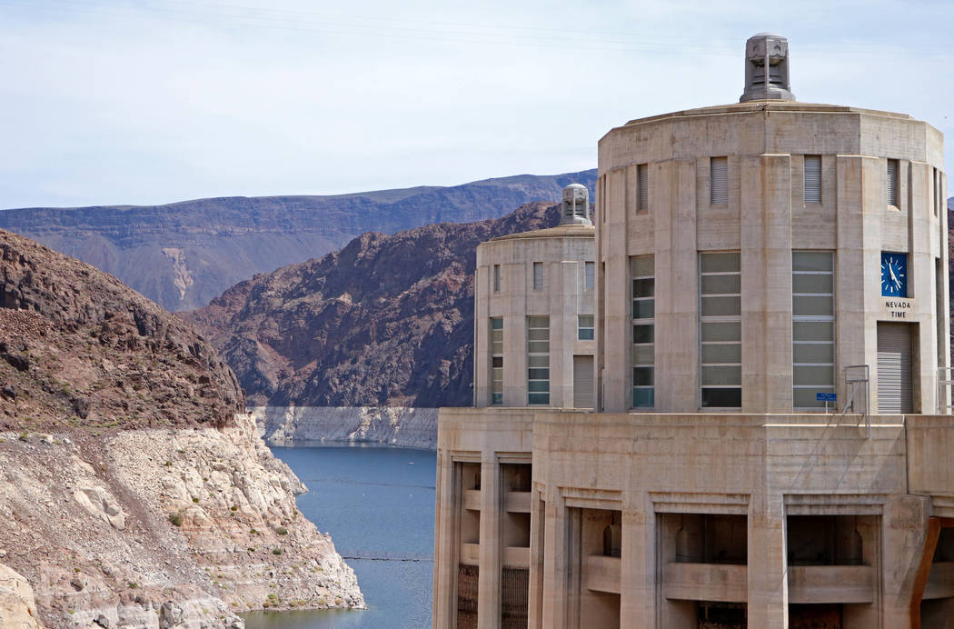 The Nevada water intake towers at Hoover Dam, Tuesday, April 11, 2017. (Gabriella Benavidez/Las Vegas Review-Journal) @gabbydeebee