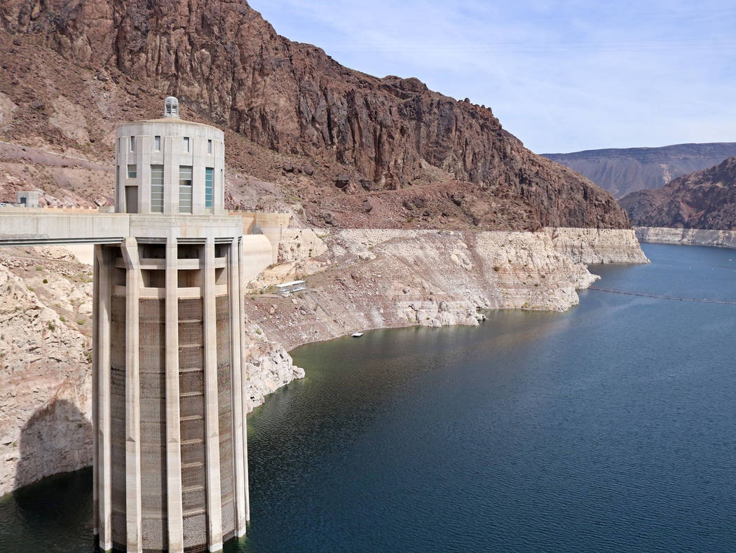 The Nevada water intake tower at Hoover Dam, Tuesday, April 11, 2017. (Gabriella Benavidez/Las Vegas Review-Journal) @gabbydeebee