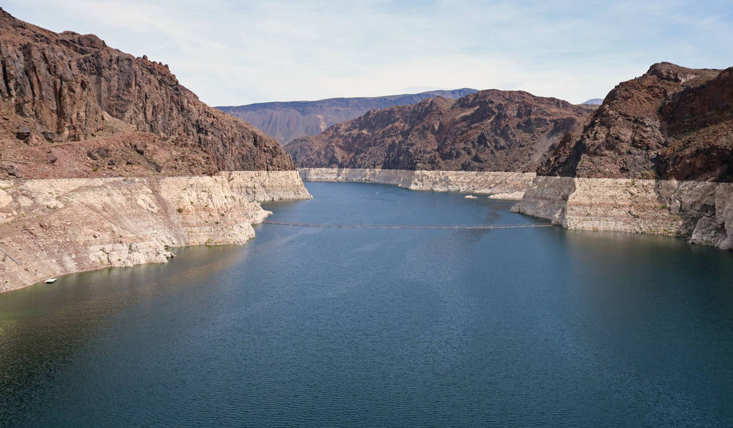 View of the Colorado River from the top of Hoover Dam, Tuesday, April 11, 2017. (Gabriella Benavidez/Las Vegas Review-Journal) @gabbydeebee
