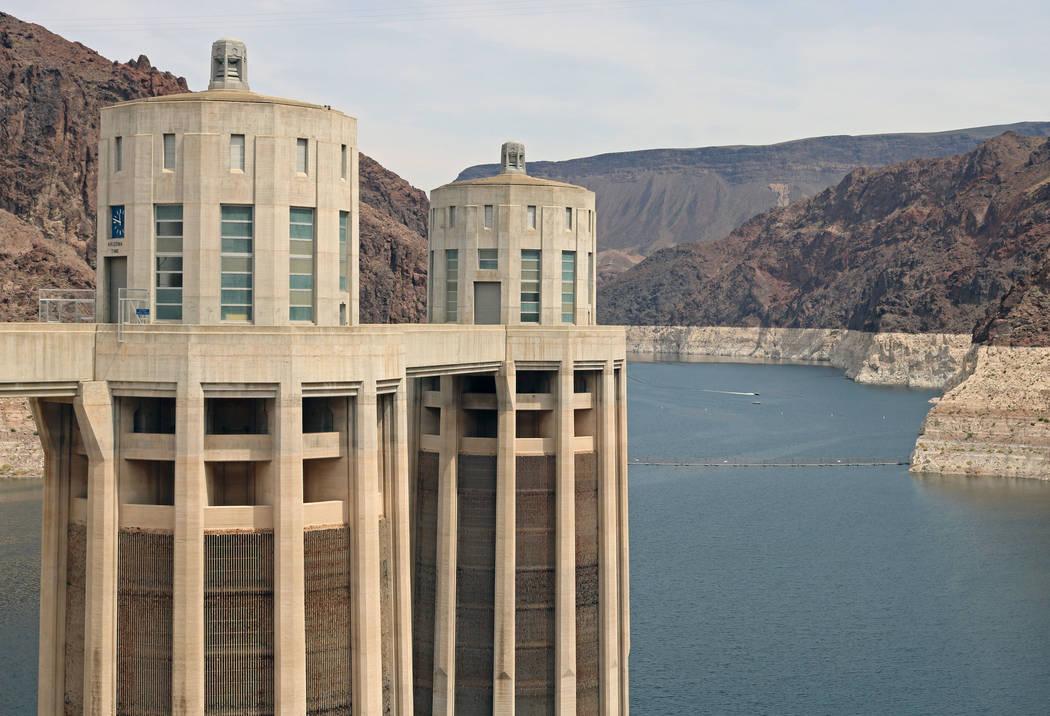 The Arizona water intake towers at Hoover Dam, Tuesday, April 11, 2017. (Gabriella Benavidez/Las Vegas Review-Journal) @gabbydeebee