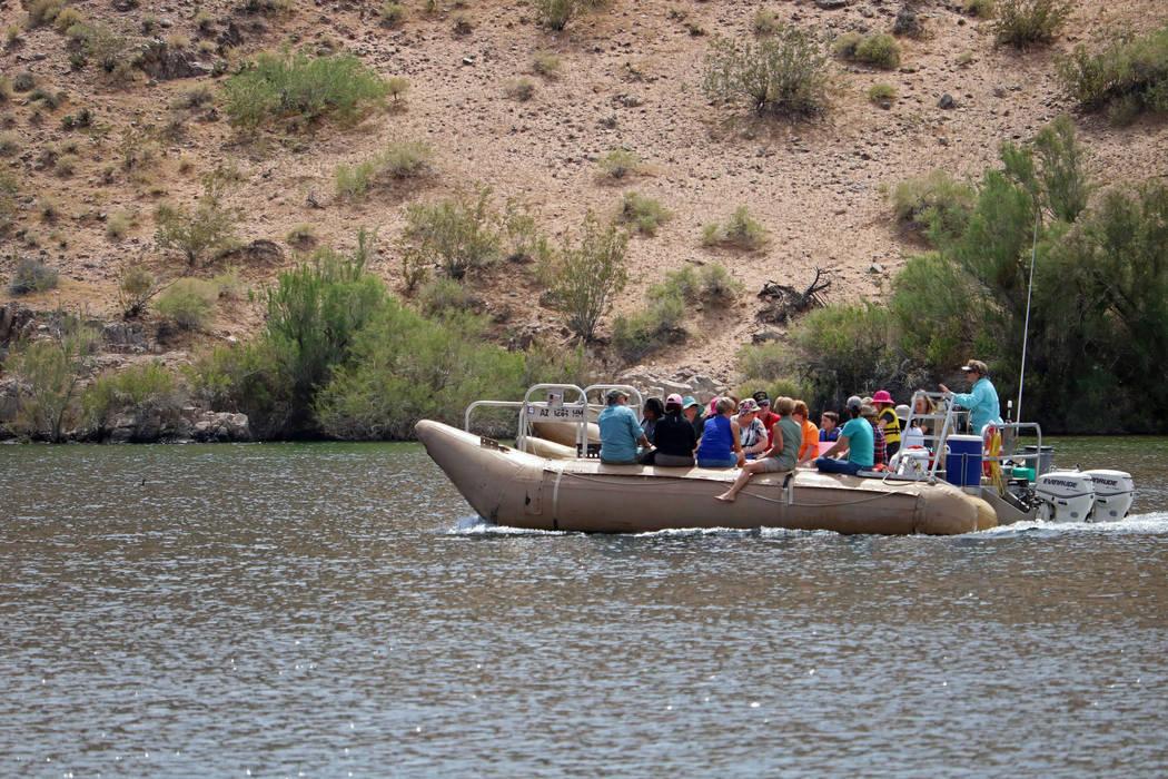 A group of tourists on a Black Canyon Raft Tour near Willow Beach in Arizona, Tuesday, April 11, 2017. (Gabriella Benavidez/Las Vegas Review-Journal) @gabbydeebee