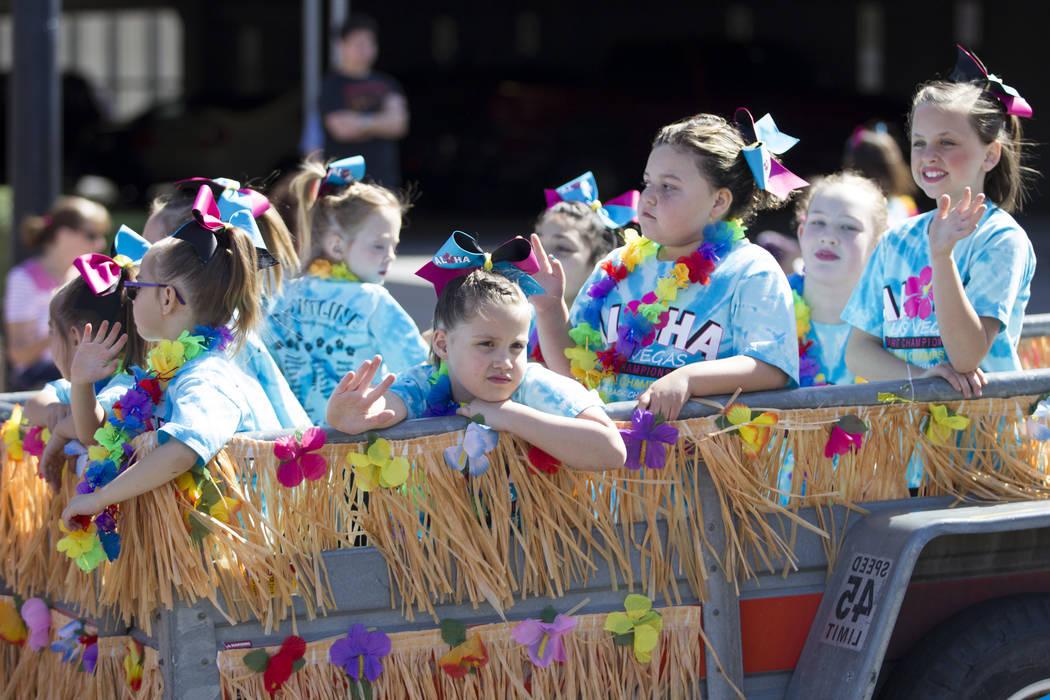Frontline cheerleaders during the annual Henderson Heritage Parade and Festival on Saturday, April 15, 2017, in Henderson. Erik Verduzco Las Vegas Review-Journal @Erik_Verduzco