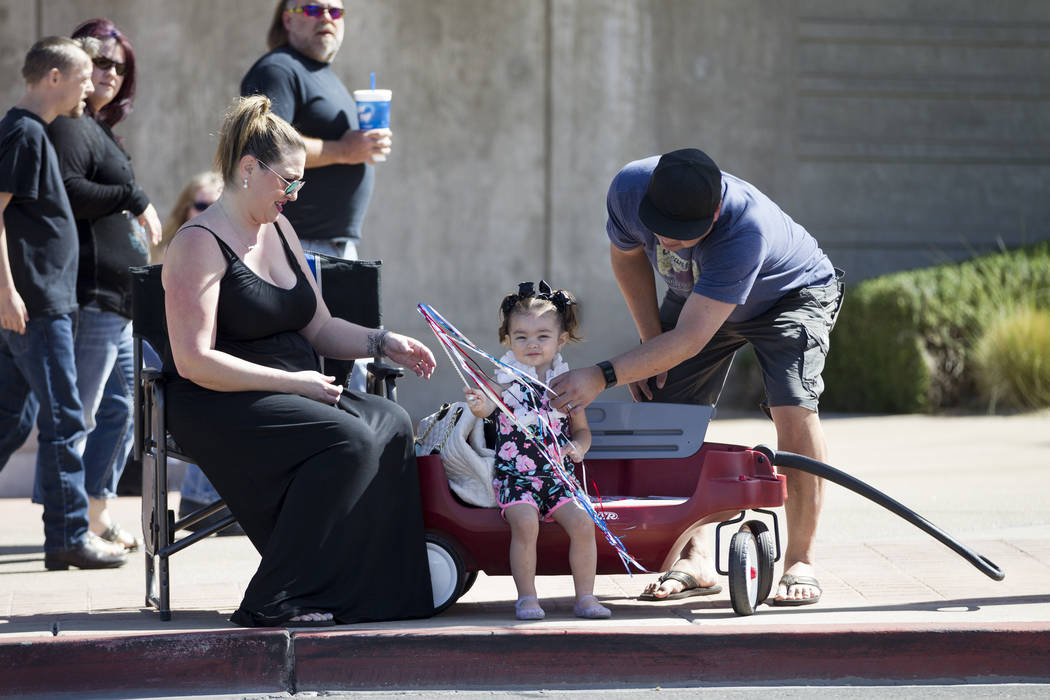Miranda Davis, from left, with her 2-year-old daughter Frankie and husband Billy during the annual Henderson Heritage Parade and Festival on Saturday, April 15, 2017, in Henderson. Erik Verduzco L ...
