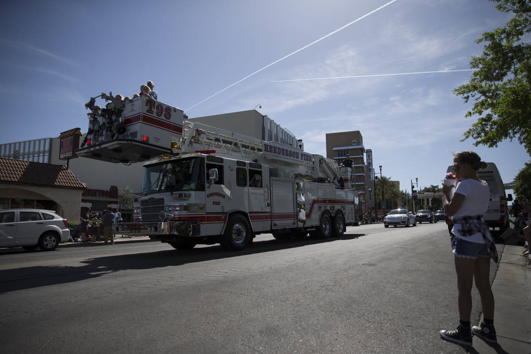 A Henderson Fire truck during the annual Henderson Heritage Parade and Festival on Saturday, April 15, 2017, in Henderson. Erik Verduzco Las Vegas Review-Journal @Erik_Verduzco