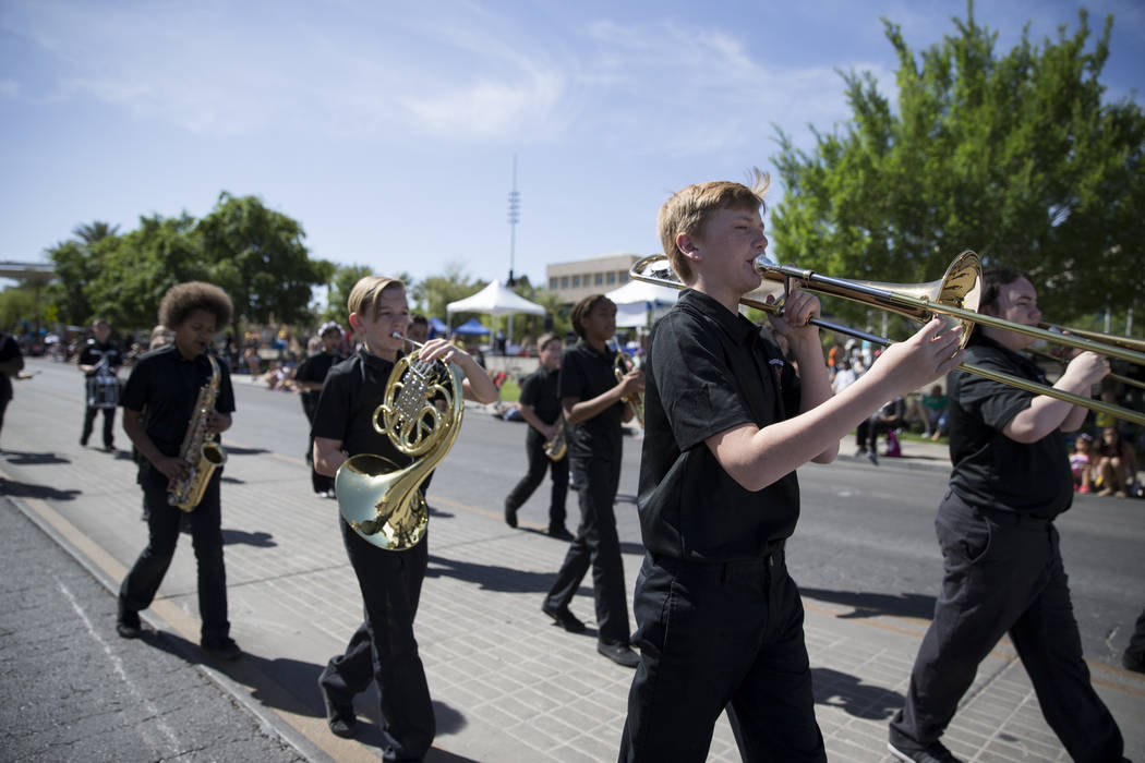 Pinecrest Academy of Nevada band members during the annual Henderson Heritage Parade and Festival on Saturday, April 15, 2017, in Henderson. Erik Verduzco Las Vegas Review-Journal @Erik_Verduzco