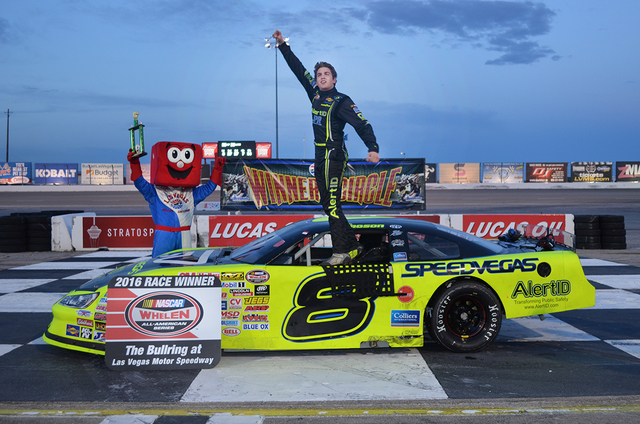 April 23, 2016: Noah Gragson celebrates his victory during Hometown Heroes Night presented by K&N Filters at The Bullring at Las Vegas Motor Speedway in Las Vegas, NV. (Photo by Jeff Speer/LVMS)