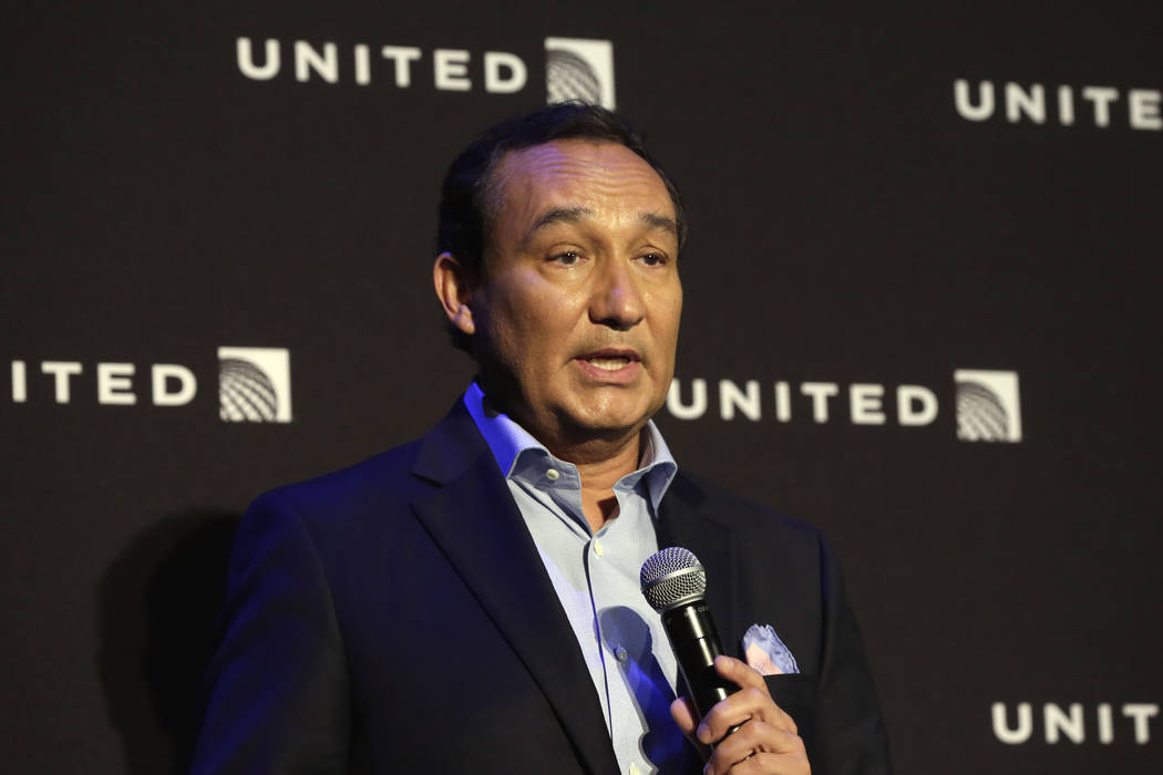 In this Thursday, June 2, 2016, file photo, United Airlines CEO Oscar Munoz delivers remarks in New York, during a presentation of the carrier's new Polaris service, a new business class product t ...