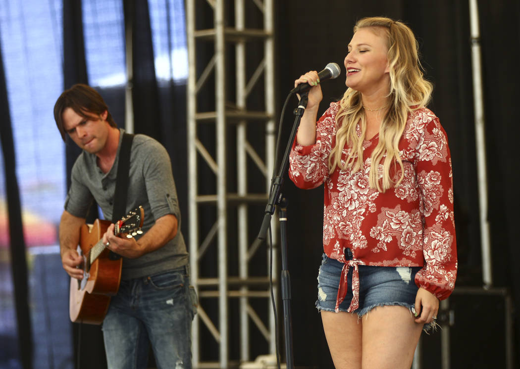 Jaime and Tony Pierce of Pierce Avenue perform during the first day of the Clark County Fair and Rodeo in Logandale on Wednesday, April 12, 2017. Chase Stevens Las Vegas Review-Journal @csstevensphoto