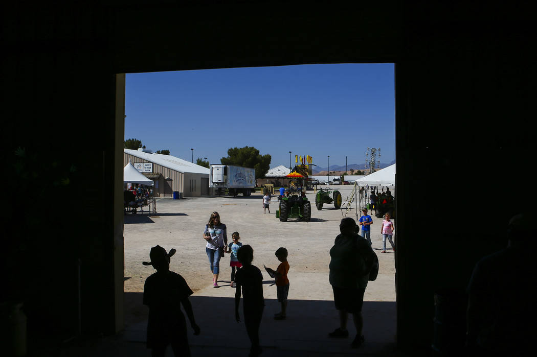 People come and go from the agriculture and small animal building during the first day of the Clark County Fair and Rodeo in Logandale on Wednesday, April 12, 2017. Chase Stevens Las Vegas Review- ...