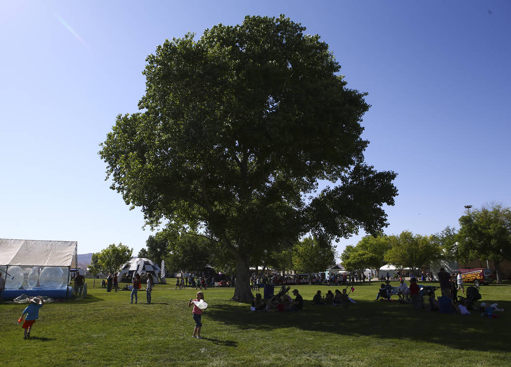 Attendees relax in the shade during the first day of the Clark County Fair and Rodeo in Logandale on Wednesday, April 12, 2017. Chase Stevens Las Vegas Review-Journal @csstevensphoto