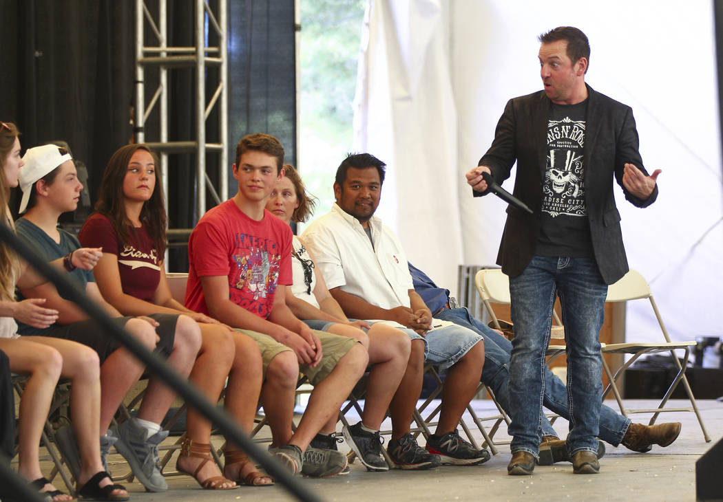 Hypnotist Tyzen performs during the first day of the Clark County Fair and Rodeo in Logandale on Wednesday, April 12, 2017. Chase Stevens Las Vegas Review-Journal @csstevensphoto