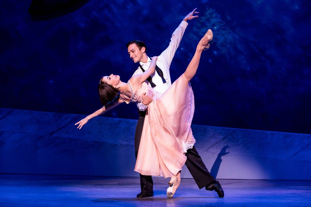 "Ballerina Lise Dassin (Sara Esty) and artist Jerry Mulligan (Garen Scribner) find romance in the Tony-winning musical ""An American in Paris."" (Matthew Murphy)"