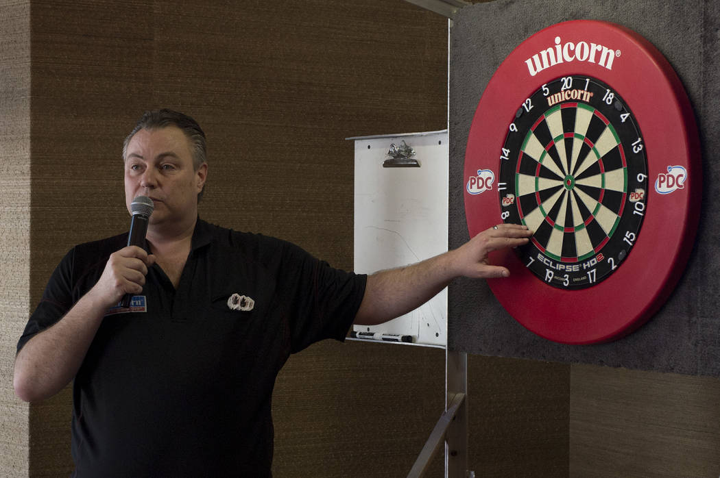 "Professional darts player John ""Darth Maple"" Part explains the different parts of the dart board on Wednesday, April 12, 2017, at Tropicana hotel-casino in Las Vegas. Tropicana will be hosting one ..."