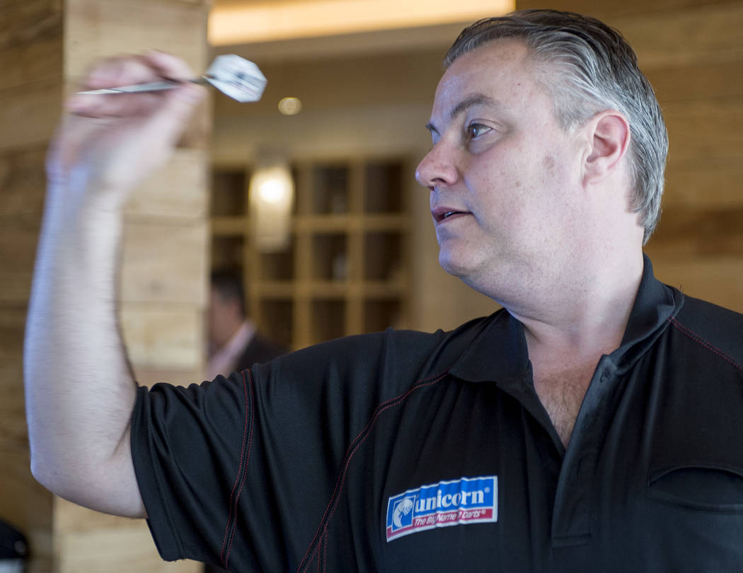"Professional darts player John ""Darth Maple"" Part demonstrates how he plays on Wednesday, April 12, 2017, at Tropicana hotel-casino in Las Vegas. Tropicana will be hosting one of the world's large ..."