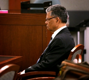 Dr. Dipak Desai sits in Judge Valerie Adair's courtroom during jury selection at the Regional Justice Center on Monday, April 22, 2013. (Las Vegas Review-Journal)