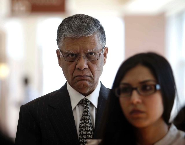 Dr. Dipak Desai is seen en route to the courtroom for closing arguments in his criminal trial at the Regional Justice Center in Las Vegas on Thursday, June 27. A jury in the hepatitis C outbreak t ...