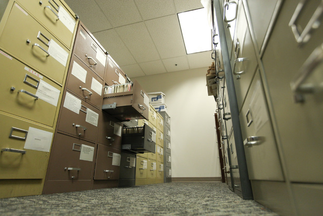 File cabinets full of public records will be digitized at the Clark County Government Center in Las Vegas on Tuesday, Nov. 22, 2016. (Brett Le Blanc/Las Vegas Review-Journal) Follow @bleblancphoto