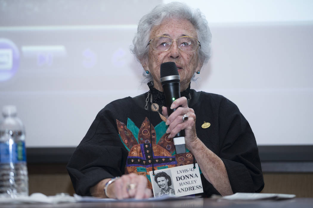 Donna Hanley Andress, Las Vegas High School class of 1943 graduate, during a panel discussion on whether the 80-year-old campus should be saved, at the Nevada State Museum on Tuesday, April 11, 20 ...