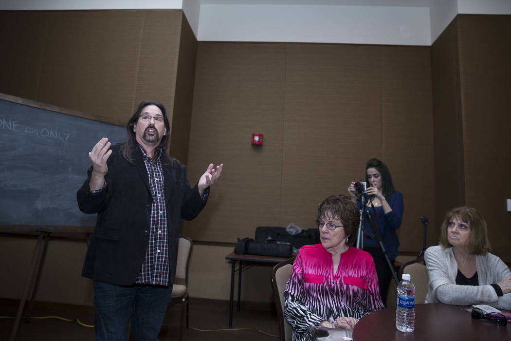 Joe Thomson, left, during a panel discussion on whether the 80-year-old Las Vegas Academy Of the Arts campus should be saved, formerly Las Vegas High School, at the Nevada State Museum on Tuesday, ...