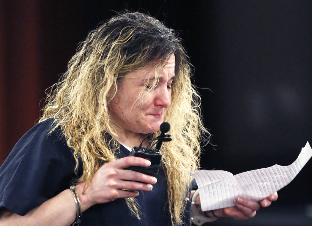Cheryl Rheamount, who shot and killed her boyfriend, reacts as she reads her statement at the Regional Justice Center on Wednesday, April 12, 2017, in Las Vegas. Bizuayehu Tesfaye Las Vegas Review ...