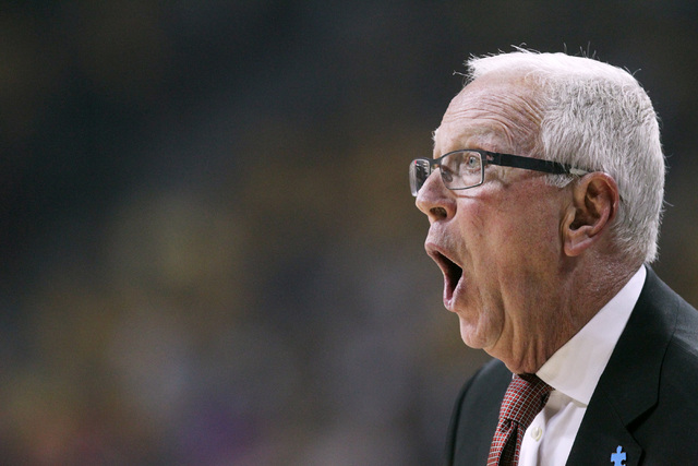 San Diego State head coach Steve Fisher yells to his players during the first half of their Mountain West Conference tournament championship game against Wyoming Saturday, March 14, 2015. (Sam Mor ...