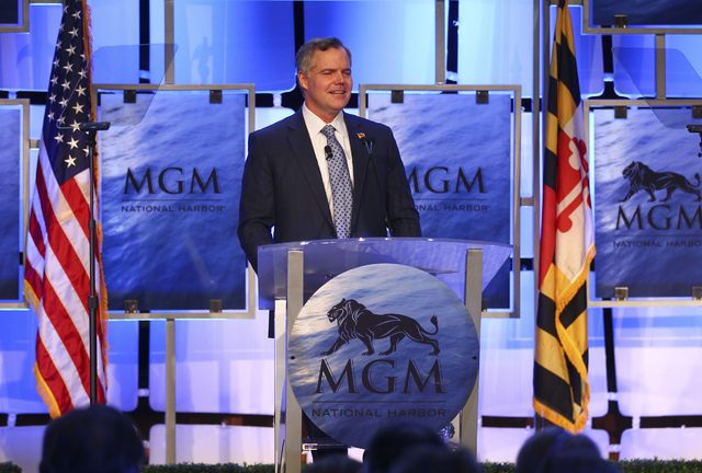 MGM Resorts International Chairman and CEO Jim Murren speaks during a news conference at MGM National Harbor in Oxon Hill, Maryland, on Thursday, Dec. 8, 2016. (Chase Stevens/Las Vegas Review-Journal)