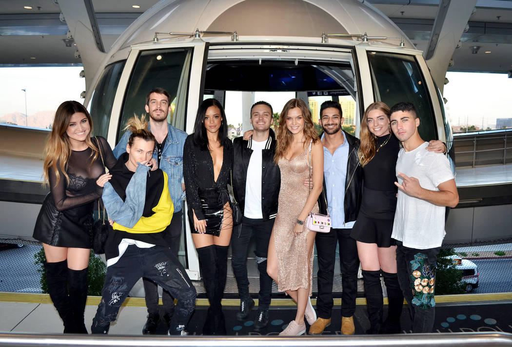 Josephine Skriver, fourth from right, and friends at The High Roller at The Linq Promenade on Monday, April 10, 2017, in Las Vegas. (Courtesy)