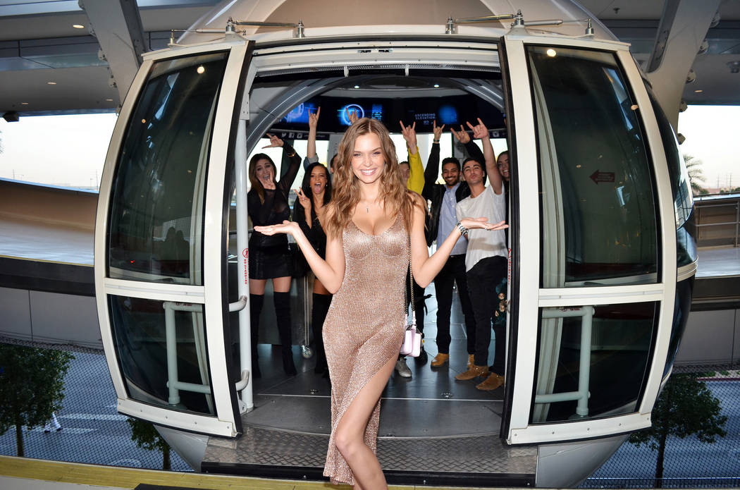 Josephine Skriver and friends at The High Roller at The Linq Promenade on Monday, April 10, 2017, in Las Vegas. (Courtesy)