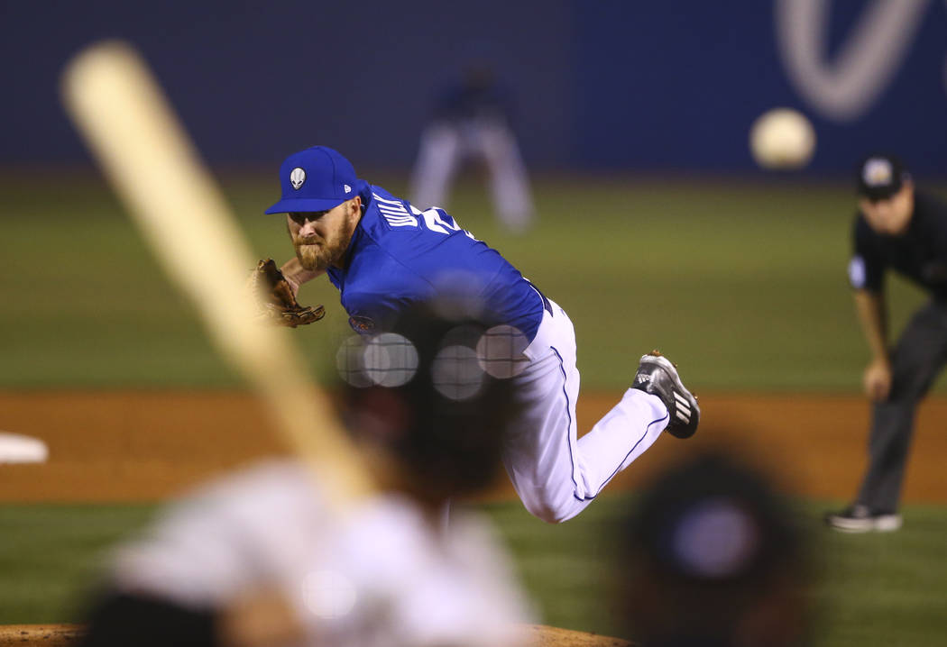 Las Vegas 51s pitcher Adam Wilk (33) sends the ball to Fresno during the opening day game at Cashman Field in Las Vegas on Tuesday, April 11, 2017. Chase Stevens Las Vegas Review-Journal @cssteven ...