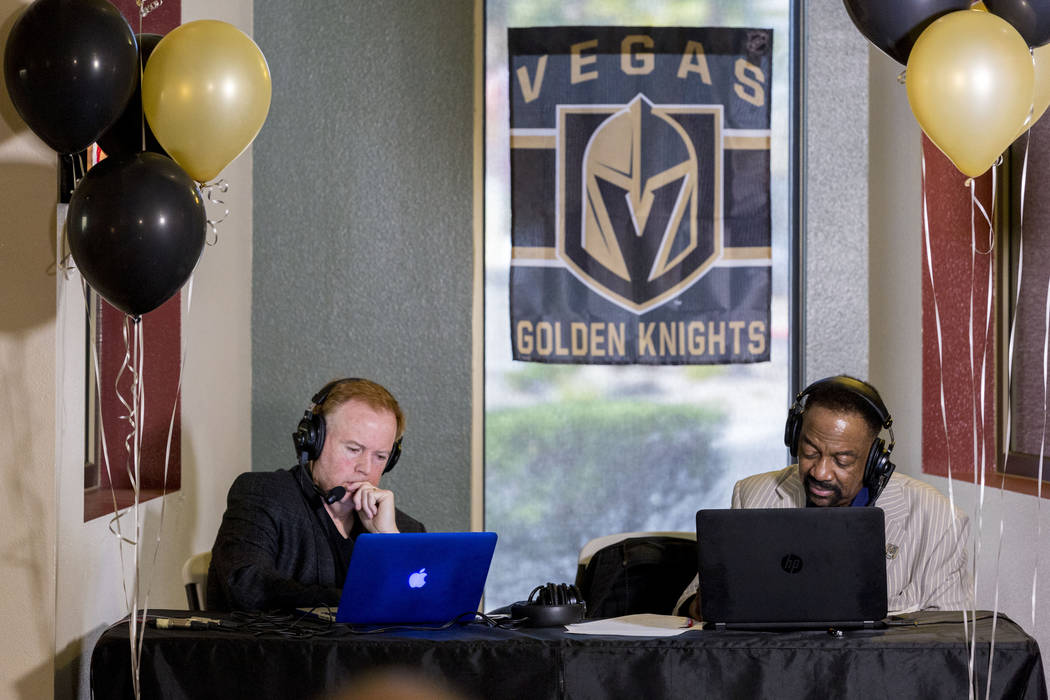 Review-Journal columnist Ed Graney, left, and co-host Seat Williams, talk to Golden Knights owner Bill Foley Wednesday about the team's broadcast deal with Lotus Broadcasting at the station in Las ...