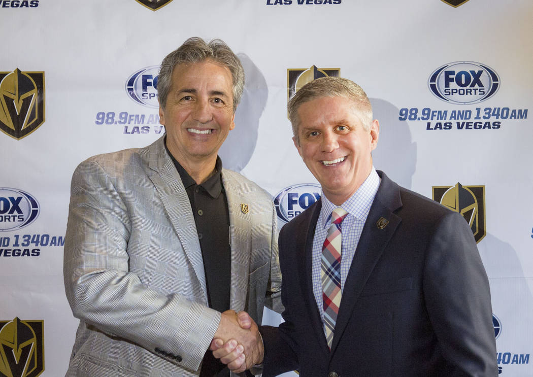 General manager of Lotus Broadcasting Tony Bonnici, left, and Golden Knights president Kerry Bubolz at the broadcasting station in Las Vegas, Wednesday, April 12, 2017. Elizabeth Brumley Las Vegas ...