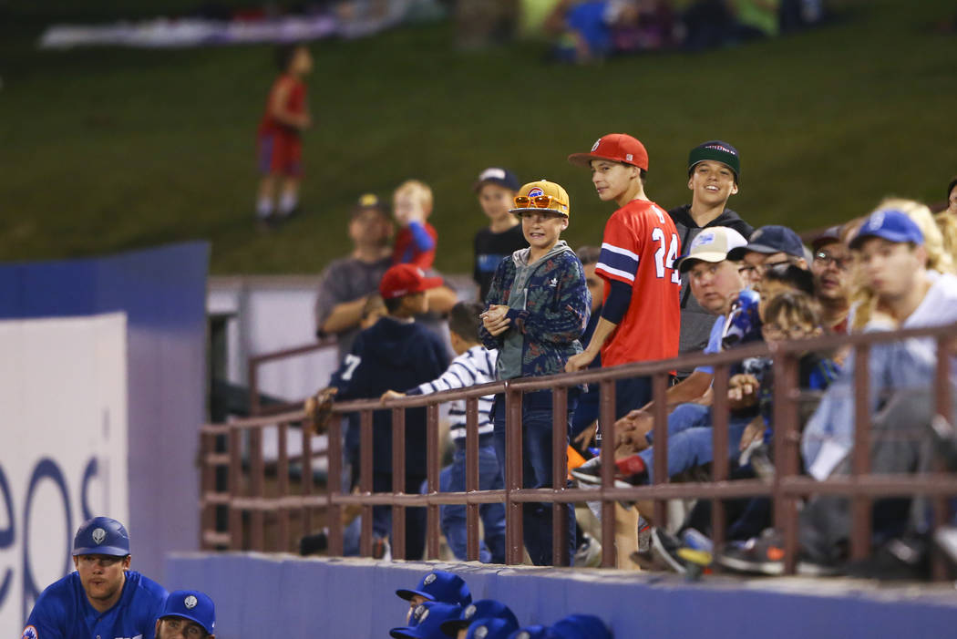 Las Vegas 51s fans take in the action during the opening day game against the Fresno Grizzlies at Cashman Field in Las Vegas on Tuesday, April 11, 2017. Chase Stevens Las Vegas Review-Journal @css ...