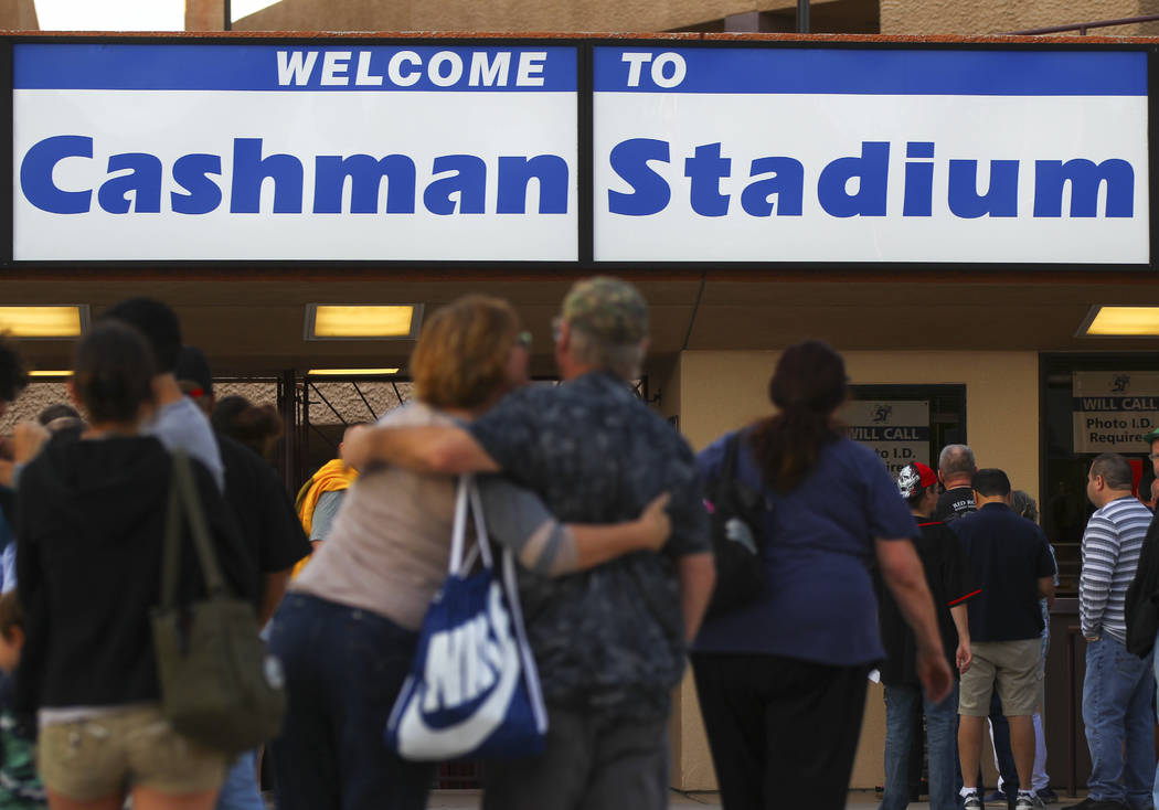 Las Vegas 51s fans arrive for the opening day game against the Fresno Grizzlies at Cashman Field in Las Vegas on Tuesday, April 11, 2017. Chase Stevens Las Vegas Review-Journal @csstevensphoto