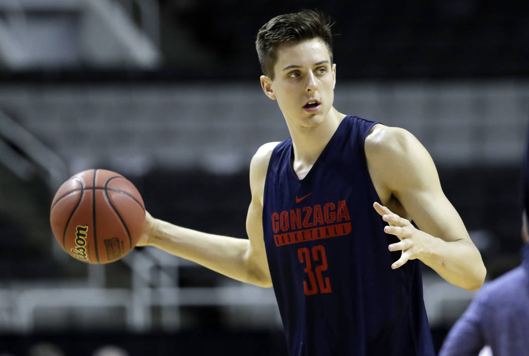 Gonzaga forward Zach Collins warms up during practice Wednesday, March 22, 2017, in San Jose, California. Collins, the former Bishop Gorman standout, on Tuesday announced he was leaving Gonzaga af ...