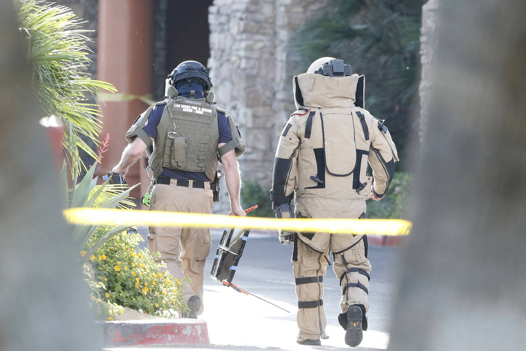 Members of the bomb squad investigate a suspicious package incident at Silver Sevens on April 12, 2017. (Bizuayehu Tesfaye Las Vegas Review Journal) @bizutesfaye