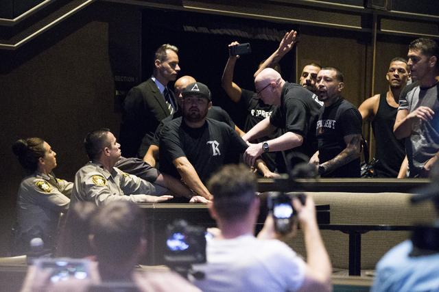 Nate Diaz walks off the UFC 202 press conference with his team at the MGM Grand hotel-casino on Wednesday, Aug. 17, 2016, in Las Vegas. (Erik Verduzco/Las Vegas Review-Journal) Follow @Erik_Verduzco