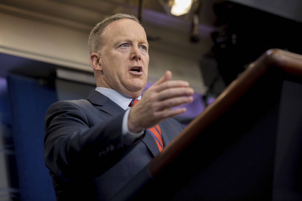 White House press secretary Sean Spicer talks to the media during the daily press briefing at the White House in Washington, Tuesday, April 11, 2017. (Andrew Harnik/AP)