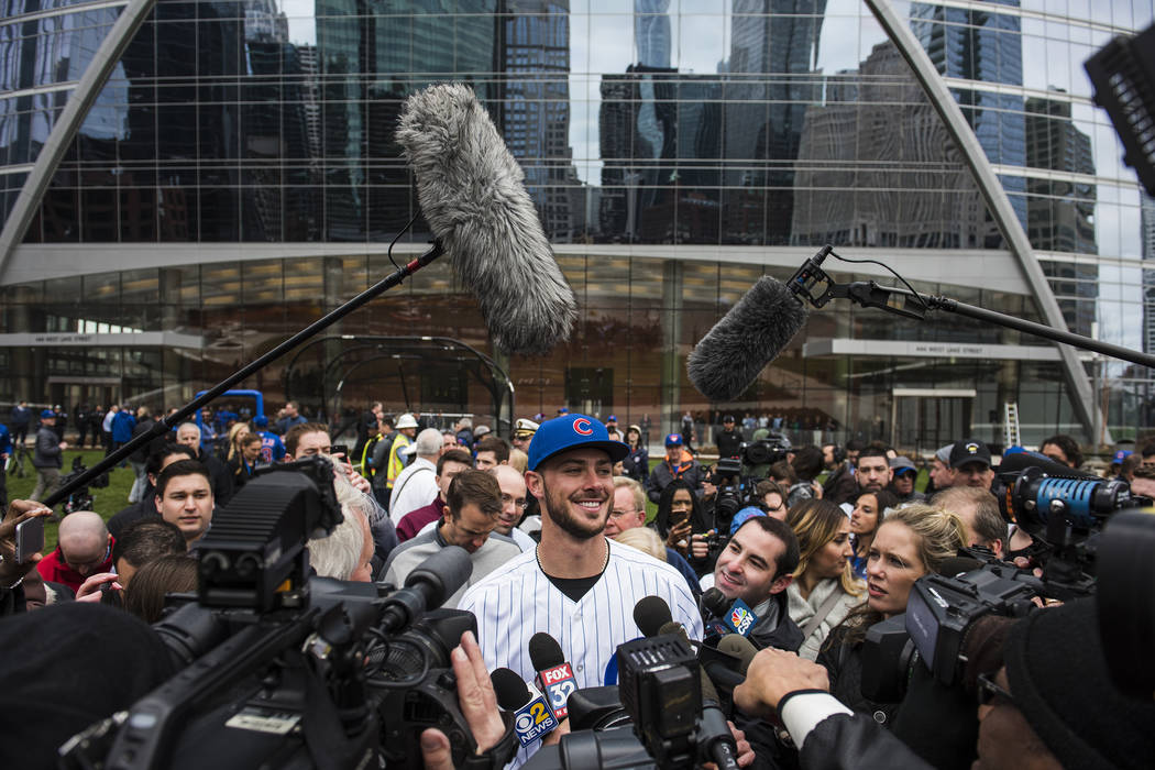 Kris Bryant speaks to the media after doing some batting practice in the streets of Downtown Chicago on April 11, 2017. (Ryan Taylor/Red Bull Content Pool via Reuters)