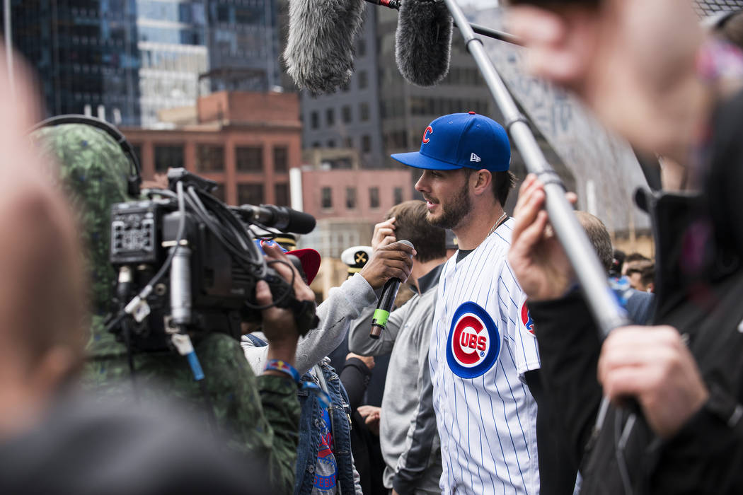 Kris Bryant does gives an interview before batting practice in the streets of Downtown Chicago on April 11, 2017. (Mike Tittel/Red Bull Content Pool via Reuters)