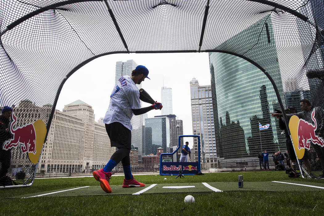 Kris Bryant's batting practice in downtown Chicago on April 11, 2017. (Ryan Taylor/Red Bull Content Pool via Reuters)