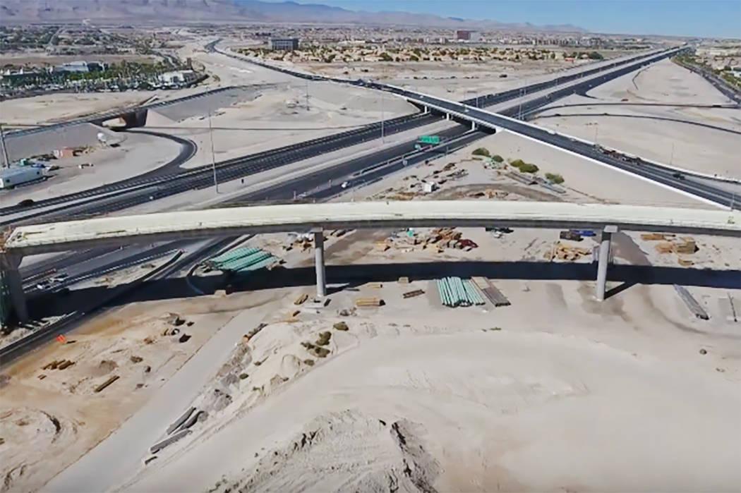 Construction of the Centennial Bowl interchange in northwest Las Vegas. (Nevada Department of Transportation/YouTube)
