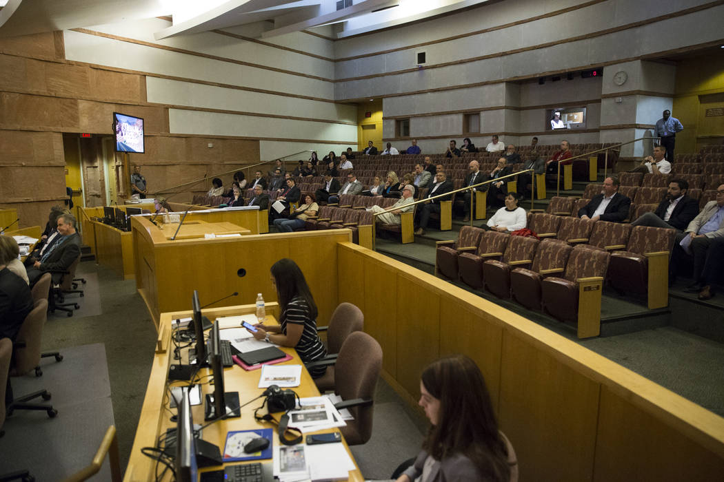 People attend a Regional Transportation Commission board meeting at the Clark County Commission Chambers on Thursday, April 13, 2017, in Las Vegas. (Erik Verduzco Las Vegas Review-Journal) @Erik_V ...