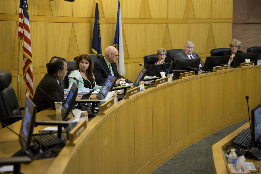Regional Transportation Commission board members during a board meeting at the  Clark County Commission Chambers on Thursday, April 13, 2017, in Las Vegas. (Erik Verduzco Las Vegas Review-Journal) ...