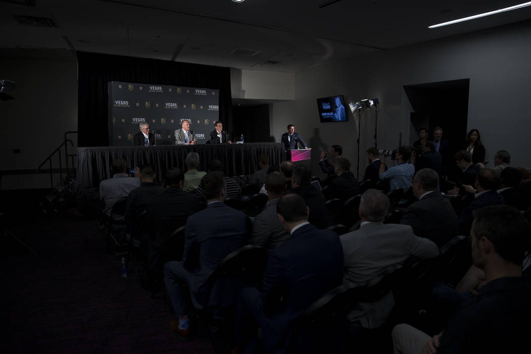 Vegas Golden Knights owner Bill Foley, from left, team head coach Gerard Gallant and general team manager George McPhee, during a press conference at T-Mobile Arena on Thursday, April 13, 2017, in ...
