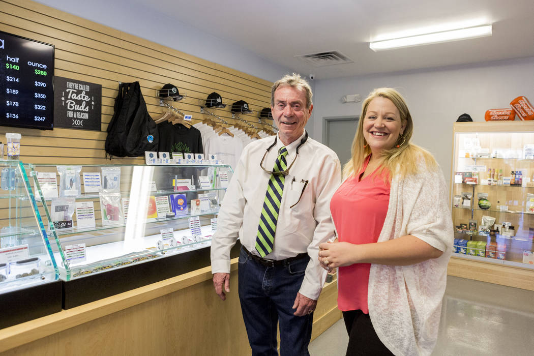 Co-owner of Euphoria Wellness Larry Doyle, left, and the managing director Darlene Purdy in Euphoria Wellness, a medical marijuana dispensary located West Las Vegas, Thursday, April 13, 2017. Eliz ...