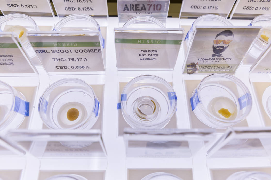 Cannabis for purchase in Euphoria Wellness, a medical marijuana dispensary located in West Las Vegas, Thursday, April 13, 2017. Elizabeth Brumley Las Vegas Review-Journal @EliPagePhoto