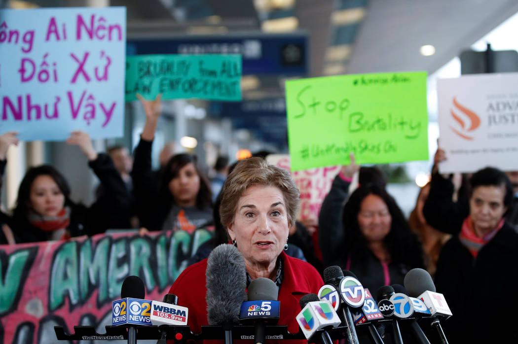 U.S. Representative for Illinois's 9th congressional district Jan Schakowsky speaks during a protest of the treatment of Dr. David Dao, who was forcibly removed from a United Airlines flight on Su ...