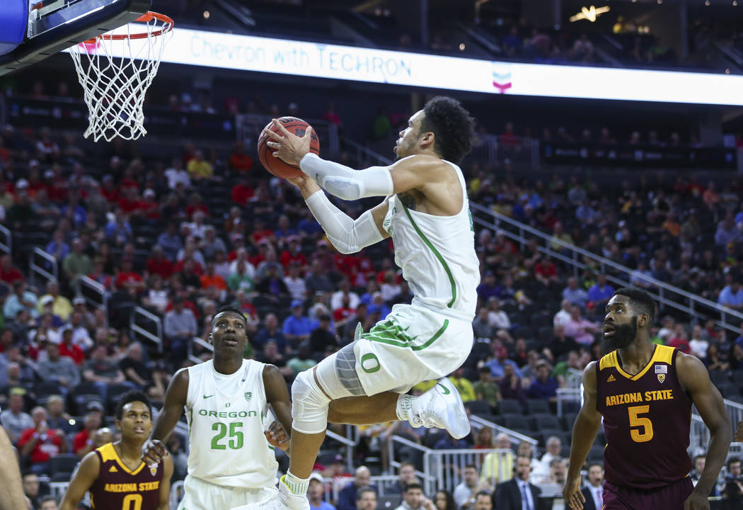 Oregon forward Dillon Brooks (24) goes to the basket against Arizona State during the Pac-12 Conference basketball tournament at the T-Mobile Arena in Las Vegas on Thursday, March 9, 2017. Top-see ...